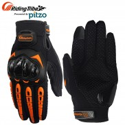 Pitzo Riding Tribe Full Finger Riding Motor Cycle Gloves (PBF_MCS17_Orange)