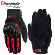 Pitzo Riding Tribe Full Finger Riding Motor Cycle Gloves (PBF_MCS17_Red)