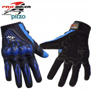 Pitzo PRO-BIKER Full Finger Biker Gloves -Blue-XL