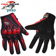 Pitzo PRO-BIKER Full Finger Biker Gloves -Red-XXL