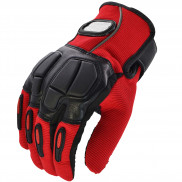 Pitzo PRO-BIKER Full Finger Biker Gloves (MCS22)-Red-L