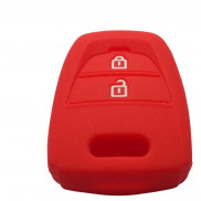 Car Silicone Key Coverr for 2 Button Remote Key Shell Body Case for Hyundai (i10 Grand)-Red