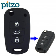 Car Silicone Key Cover for 3 Button Remote Flip Key Shell Body Case for Hyundai i20 Old -Black