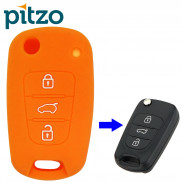 Car Silicone Key Cover for 3 Button Remote Flip Key Shell Body Case for Hyundai i20 Old -Orange