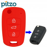 Car Silicone Key Cover for 3 Button Remote Flip Key Shell Body Case for Hyundai i20 Old -Red