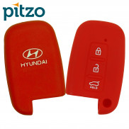 Car Silicone Key Cover for 3 Button Remote Smart Key Shell Body Case for Hyundai -Red