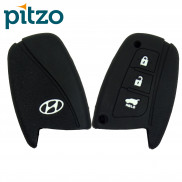 Car Silicone Key Cover for 3 Button Remote Smart Key Shell Body Case for Hyundai -Black