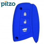 Car Silicone Key Cover for 3 Button Remote Smart Key Shell Body Case for Hyundai -Blue