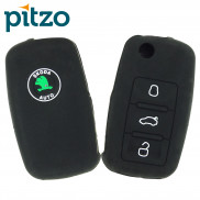 Car Silicone Key Cover for 3 Button Remote Flip Key Shell for Skoda -Black