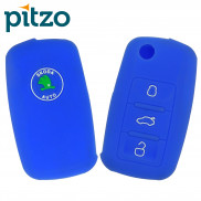 Car Silicone Key Cover for 3 Button Remote Flip Key Shell for Skoda -Blue