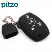 Car Silicone Key Cover Including Chain Cap for 3 Button Remote Smart Key Shell Body Case for Mercedes Benz -Black