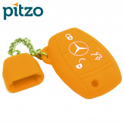 Car Silicone Key Cover Including Chain Cap for 3 Button Remote Smart Key Shell Body Case for Mercedes Benz -Orange