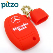 Car Silicone Key Cover Including Chain Cap for 3 Button Remote Smart Key Shell Body Case for Mercedes Benz -Red