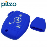 Car Silicone Key Cover without Chain for 3 Button Remote Smart Key Shell Body Case for Mercedes Benz-Blue