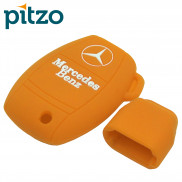 Car Silicone Key Cover without Chain for 3 Button Remote Smart Key Shell Body Case for Mercedes Benz-Orange